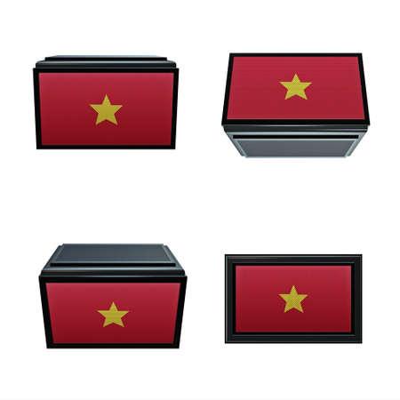 box size: vietnam flags 3D Box big size set 4 in 1