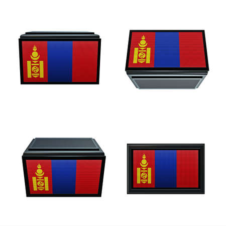 box size: mongolia flags 3D Box big size set 4 in 1