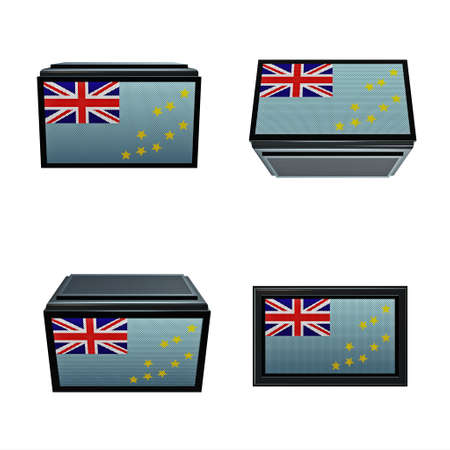 box size: Tuvalu flags 3D Box big size set 4 in 1 Stock Photo