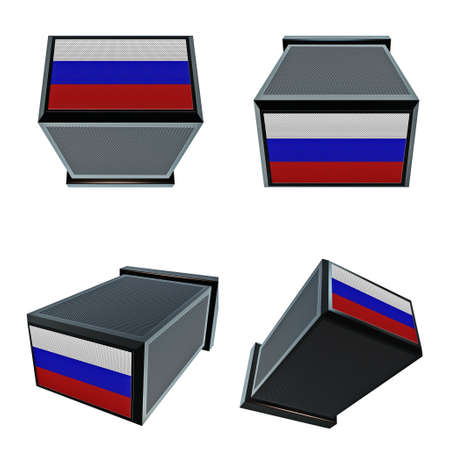 box size: russia flags on 3D Box  big size set moving