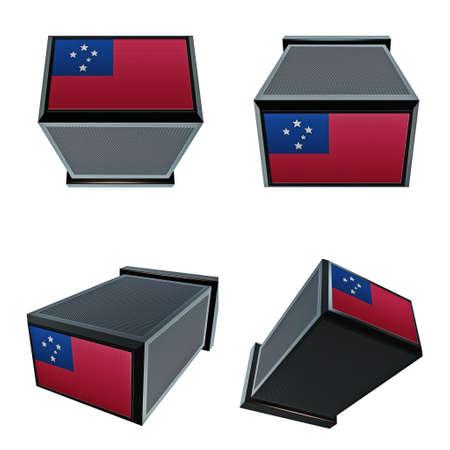 box size: samoa flags on 3D Box  big size set moving