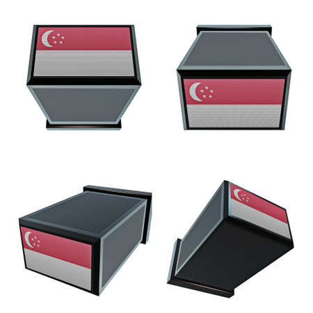 box size: singapore flags on 3D Box  big size set moving