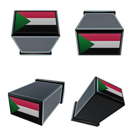 box size: sudan flags on 3D Box  big size set moving Stock Photo
