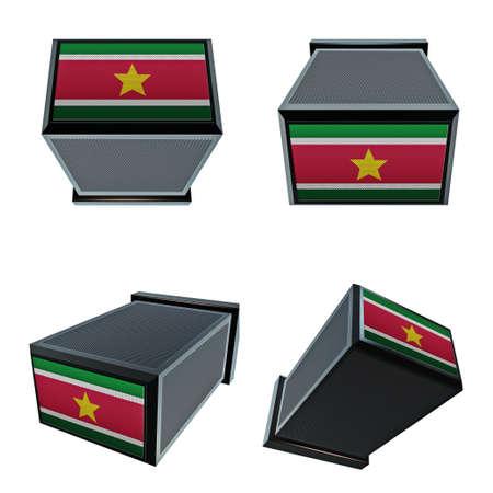 box size: suriname  flags on 3D Box  big size set moving Stock Photo
