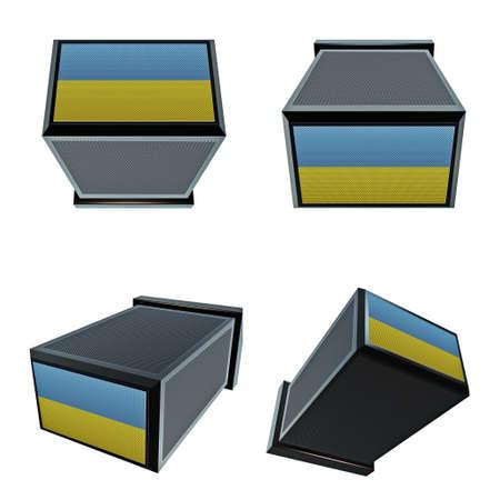 box size: ukraine flags on 3D Box  big size set moving