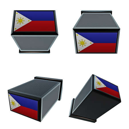 box size: Philippines flags on 3D Box  big size set moving Stock Photo