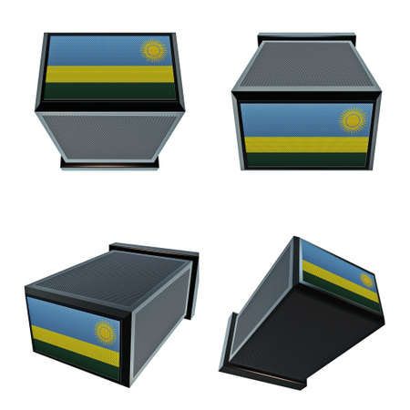 box size: Rwanda flags on 3D Box  big size set moving Stock Photo