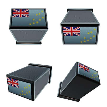 box size: Tuvalu flags on 3D Box  big size set moving Stock Photo