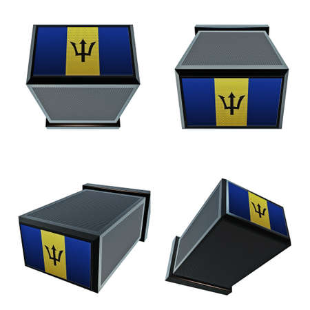 box size: barbados flags on 3D Box  big size set moving
