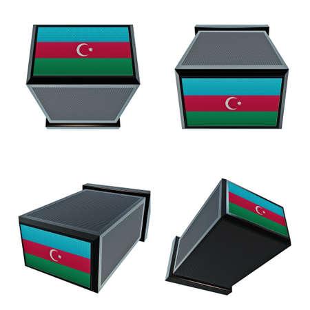 box size: azerbaijan flags on 3D Box  big size set moving