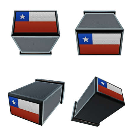 box size: chile flags on 3D Box  big size set moving Stock Photo