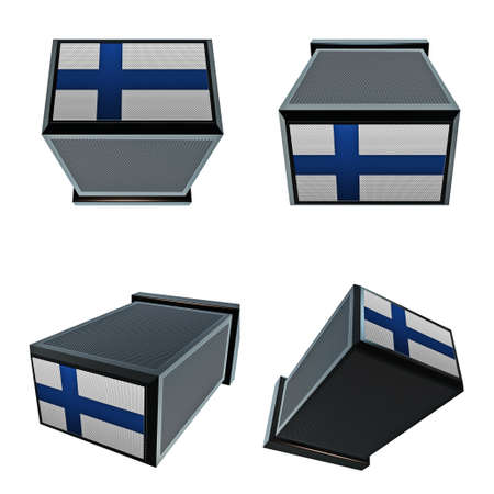 box size: finland flags on 3D Box  big size set moving Stock Photo