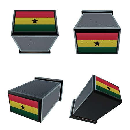 box size:  ghana flags on 3D Box  big size set moving Stock Photo