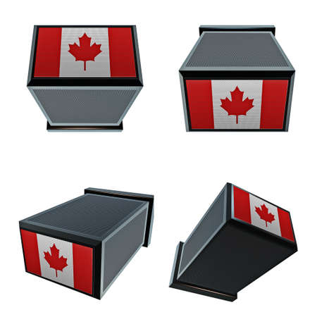 box size: canada flags on 3D Box  big size set moving Stock Photo