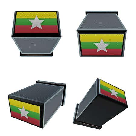 box size: myanmar flags on 3D Box  big size set moving
