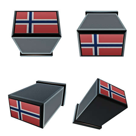 box size: norway flags on 3D Box  big size set moving Stock Photo