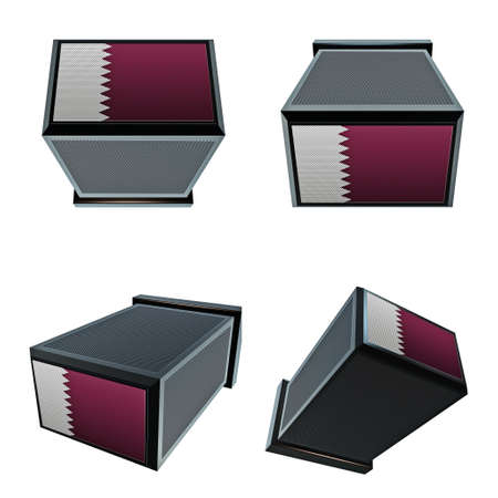 box size: qatar flags on 3D Box  big size set moving