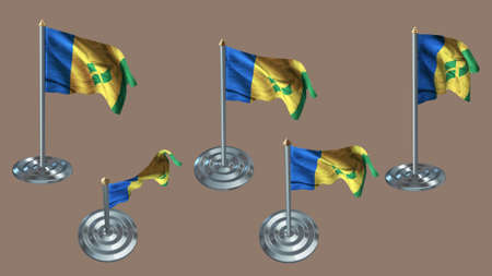ee: st vincent & the grenadines pin with aluminium texture set