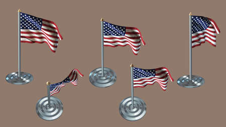 aluminium texture: united states of american pin with aluminium texture set