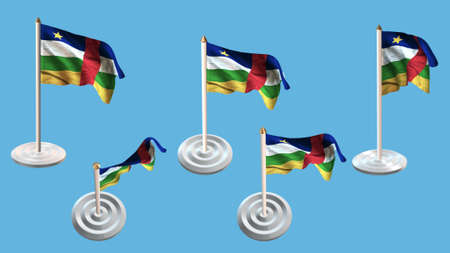 ee: central african republic flags with white pin set multiple views