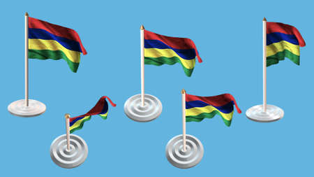 ee: mauritius flags with white pin set multiple views Stock Photo