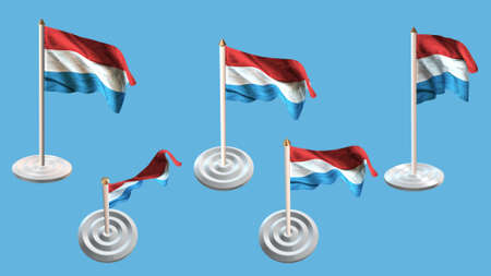 ee: luxembourg  flags with white pin set multiple views Stock Photo