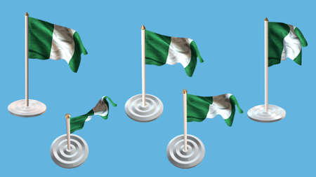 ee: nigeria flags with white pin set multiple views Stock Photo