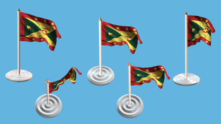 ee: Grenada flags with white pin set multiple views