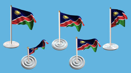 ee: Namibia flags with white pin set multiple views