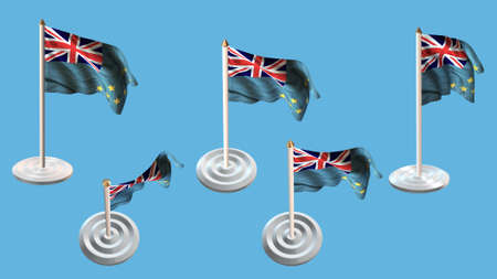 ee: Tuvalu flags with white pin set multiple views Stock Photo