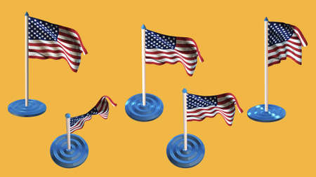 ee: united states of american flags blue and white  pin with flag waving Stock Photo