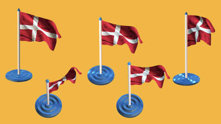 ee: denmark flags blue and white  pin with flag waving