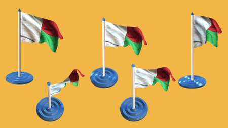 ee: madagascar flags blue and white  pin with flag waving Stock Photo