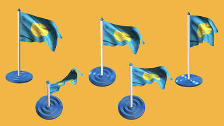 palau: palau flags blue and white  pin with flag waving