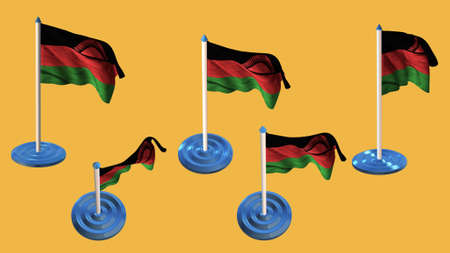 ee:  Malawi flags blue and white  pin with flag waving Stock Photo