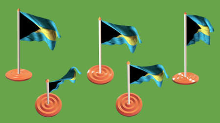 ee: bahamas flags orange and white pin with flag waving Stock Photo