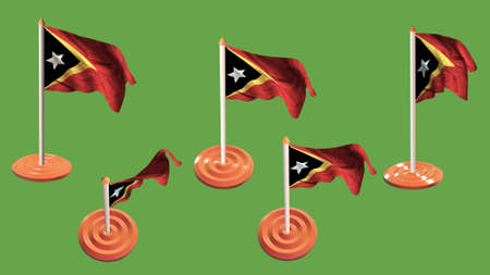 ee: east timor flags orange and white pin with flag waving
