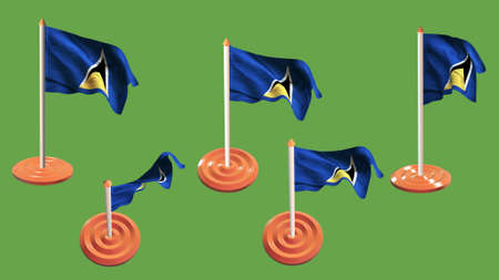 ee: st lucia flags orange and white pin with flag waving