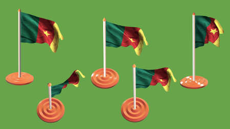 ee: cameroon flags orange and white pin with flag waving