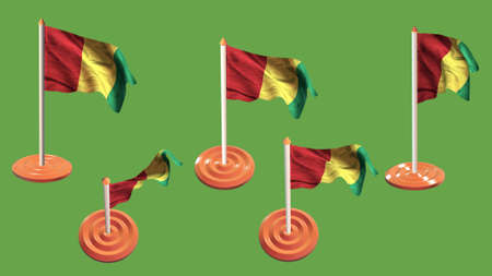 ee: guinea flags orange and white pin with flag waving Stock Photo