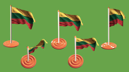 ee: lithuania flags orange and white pin with flag waving