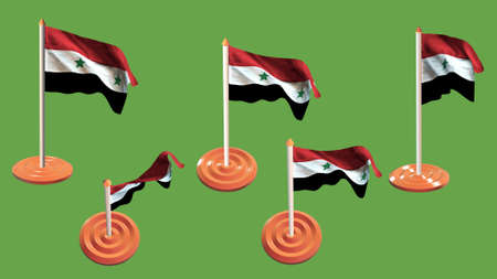 ee: syria flags orange and white pin with flag waving