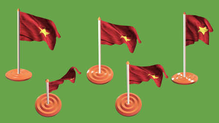 ee: vietnam flags orange and white pin with flag waving Stock Photo
