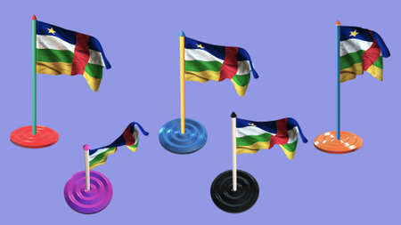ee: central african republic flags and pin parti colored on purple screen Stock Photo