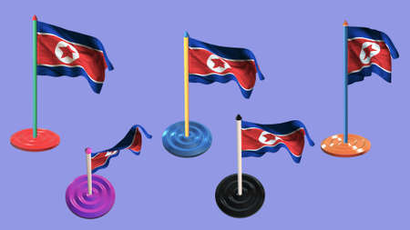 ee: korea north flags and pin parti colored on purple screen