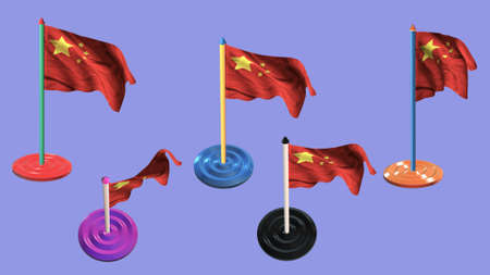 ee: china flags and pin parti colored on purple screen