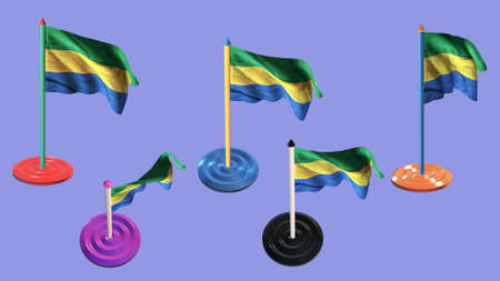 ee: gabon flags and pin parti colored on purple screen