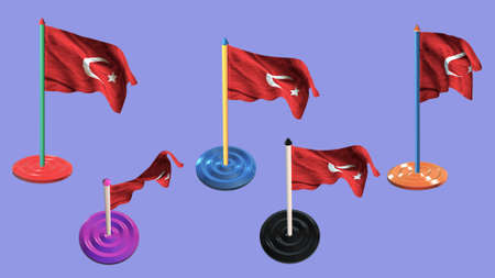 ee: turkey flags and pin parti colored on purple screen
