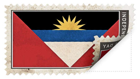 ajar: antigua and barbuda flag on stamp independence day be ajar