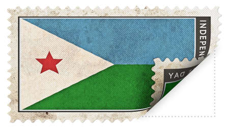 ajar:  djibouti flag on stamp independence day be ajar